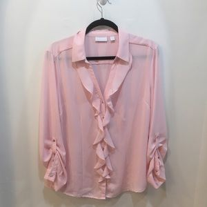 New York & Company Pink Ruffle Button Down Top